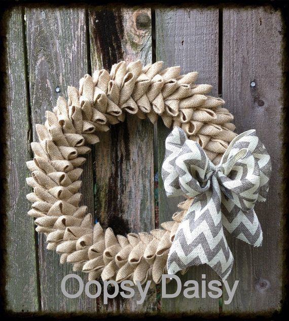 "20"" XXL petal burlap wreath with chevron and burlap bow, shabby chic burlap bubble wreath , year around wreath, chevron burlap wreath"
