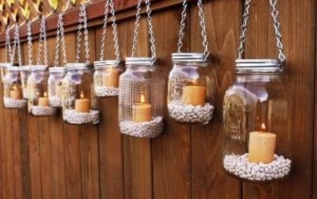 DIY jam jar candle lanterns