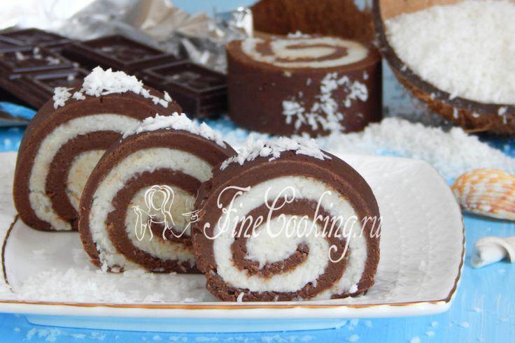 Шоколадно-кокосовый рулет без выпечки