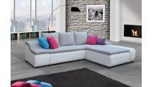 Canapé d'angle convertible design gris, blanc, rouge - MyMeubleDeco - Mymeubledeco