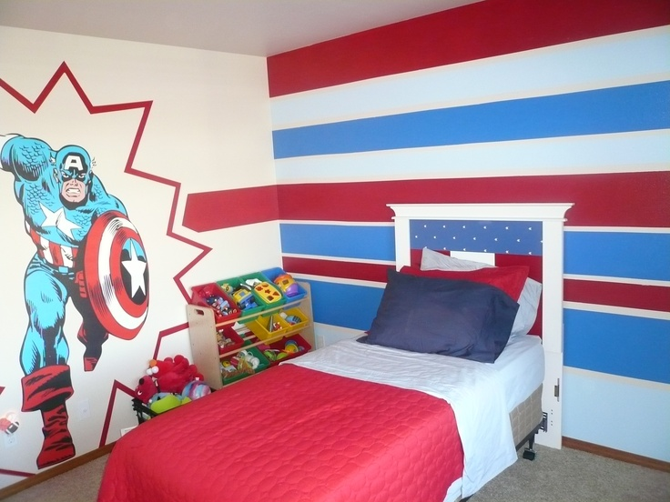 Our little superhero has a room perfectly suited for him.  Gotta love fathead decals!
