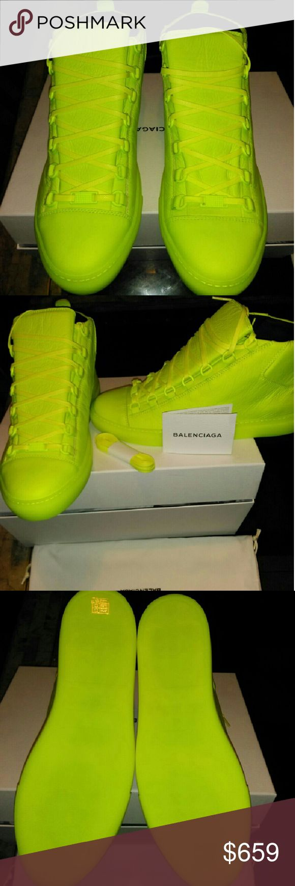 Men Neon Yellow Hip Top Balenciaga Sneakers 41EU Men Balenciaga High Top Arena Sneakers  Several sizes available.   100% Authentic Brand New with Dust Bag and Box   #balenciaga #balenciagasneakers #balenciagaracerunner #balenciaganewseason #balenciagaauthentic #balenciagahightop #balenciagamensneakers #balenciagawhitesneakers Balenciaga  Shoes Sneakers