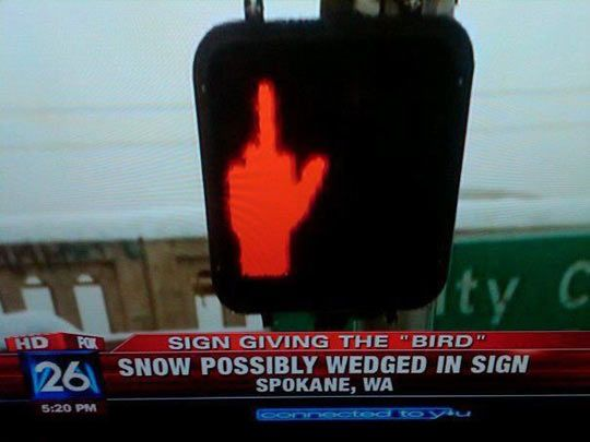 Even traffic signs are tired of winter.