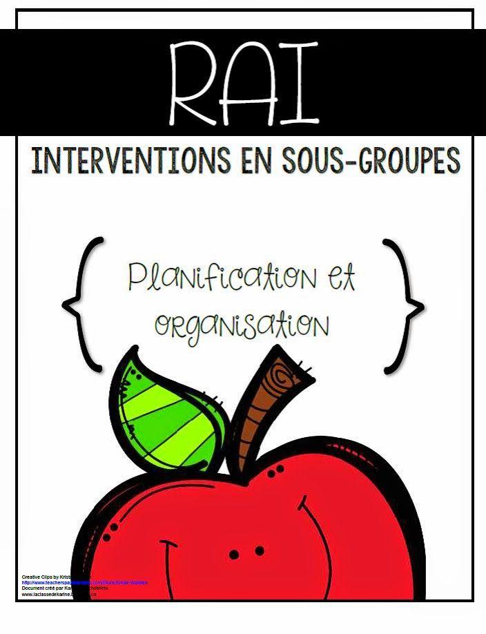 Outils de planification et d'organisation RAI (Réponse à l'intervention) - La classe de Karine