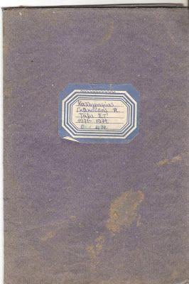 τετράδιο παλιό που ντυνόταν με μπλε χαρτί. Η ετικέτα αυτοκόλητο