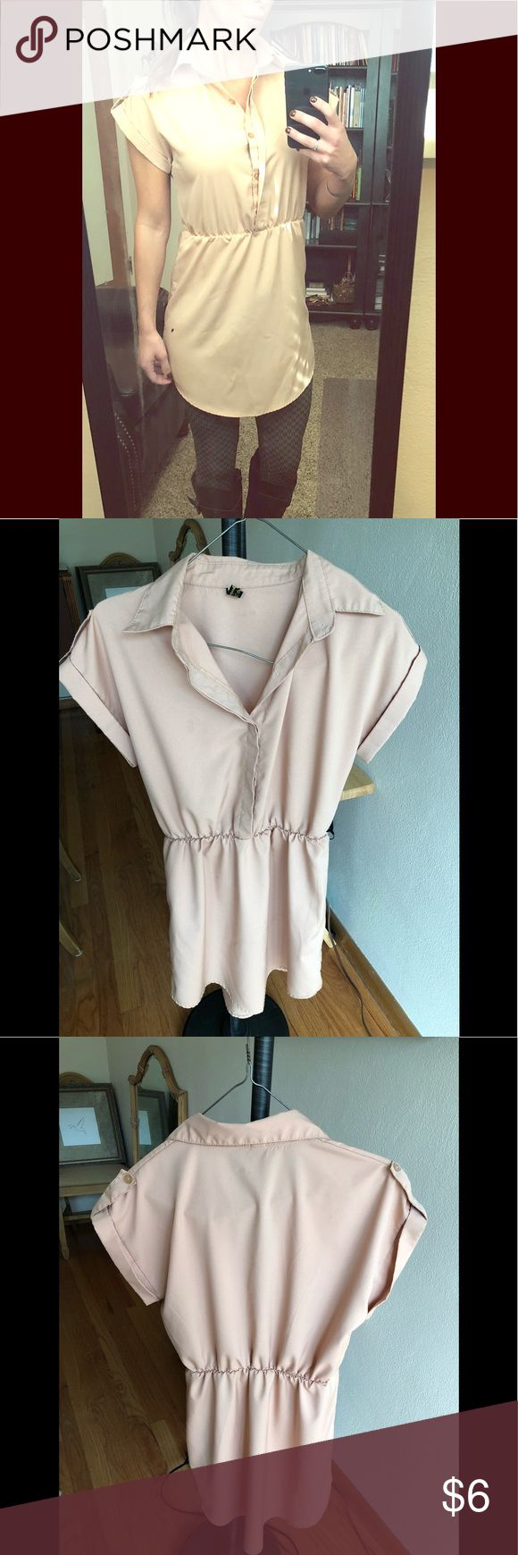 Short sleeve button up dress Camel colored cap sleeve dress. Buttons up halfway with empire waist.  Can expose the buttons or have fabric cover them.  Button details on the sleeves. Goes with any leggings, tights, boots, sweaters or jackets! Dresses