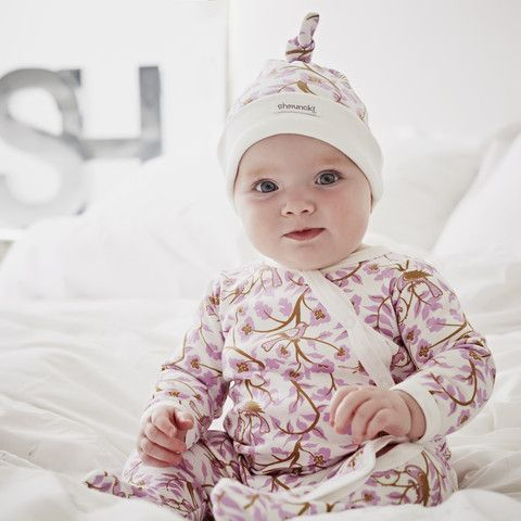 Baby Girl Pink Romper and Hat set Flowery leaves and birds make this print an autumn trend £24.00 #babyoutfit #newborngift