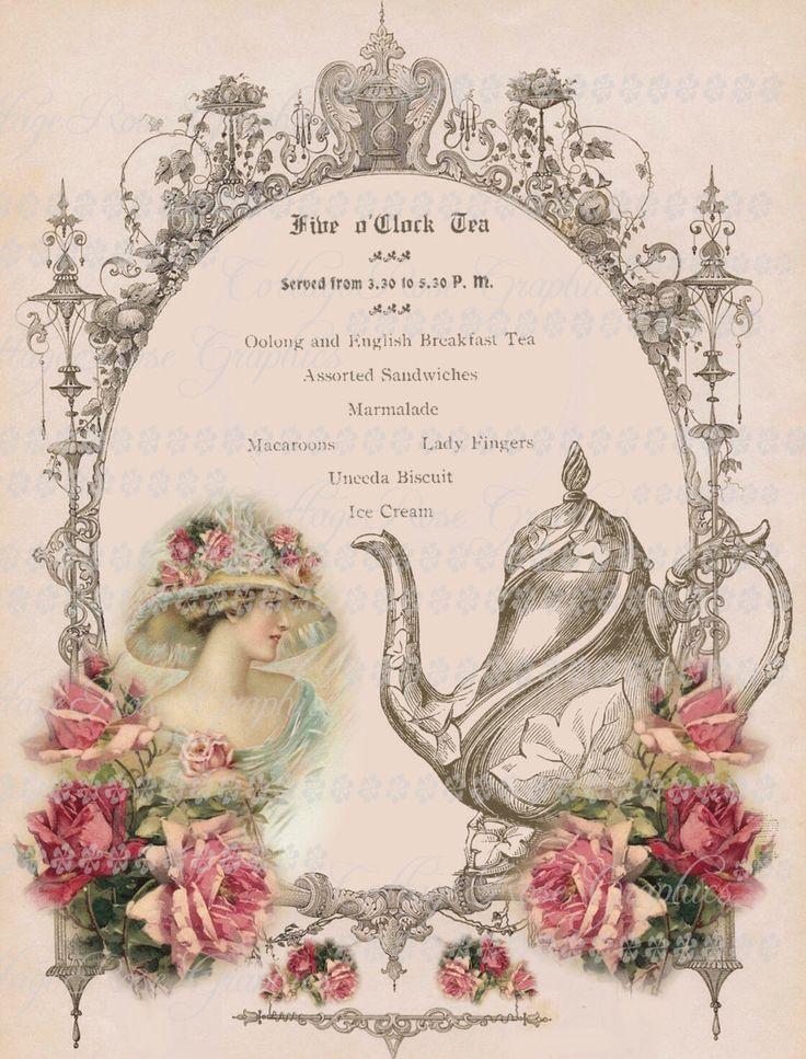 Victorian Five o'clock TEA English Large digital download pink roses BUY 3 get…