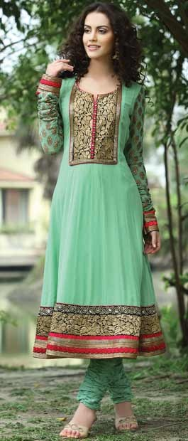 Light Green Faux Georgette Flair Churidar Kameez With Dupatta Itemcode: KXW114A Price: US$ 134.18 Click here: http://www.utsavfashion.com/store/sarees-large.aspx?icode=KXW114A