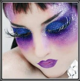With huge false eyelashes and matching purple lips! You will turn heads everywhere you go with this stand out fairy look!