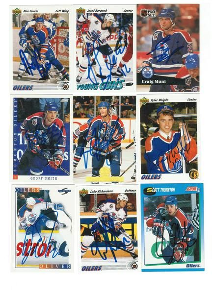 Edmonton Oilers Lot of 9 Autographed Cards. You will receive all cards in the picture. This Lot includes: Tyler Wright, Luke Richardson, Scott Thornton, David Oliver, Craig Muni, Dan Currie, Kelly Buchberger, Geoff Smith & Josef Beranek.