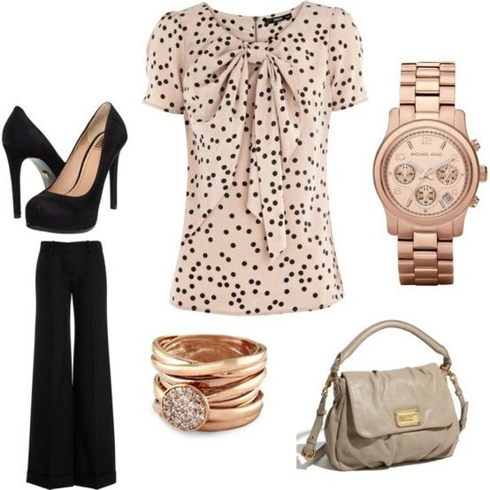 Darling!Blouses, Fashion, Polka Dots, Outfit Ideas, Style, Work Outfits, Business Casual, Black Pants, Rose Gold