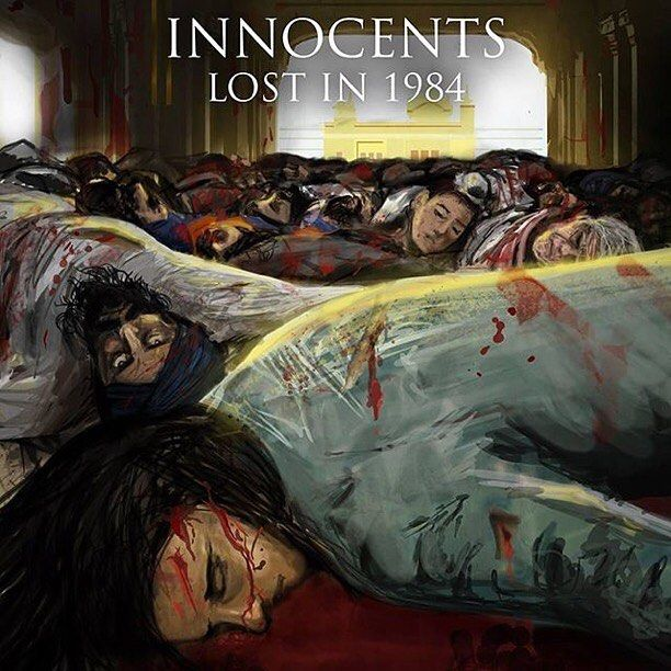powerful artwork by @jaglallart who had created this piece for a hard hitting radio drama by @akaalpublishers 'Innocents Lost in 1984' #sikh #art #digital