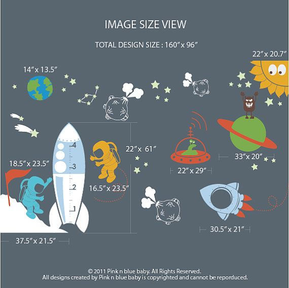 Kids Wall Decal   Outer Space Decal for Kids   by pinknbluebaby, $196.00