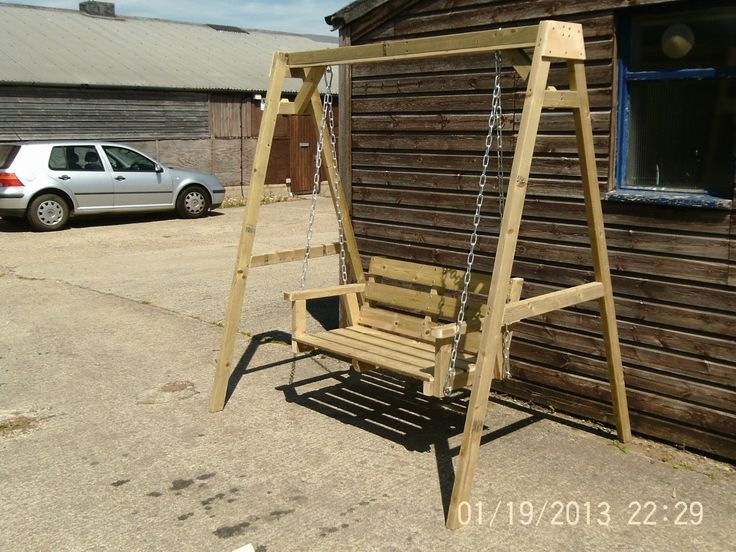 Wooden Garden Swing Bench Bespoke Wooden Garden Swing Seat Bench   eBay