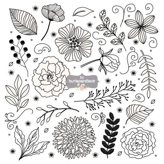 Rustico matrimonio clipart, clipart fiore, disegnata a mano clipart foglia, floreale, natura, nozze clipart, clipart nuziale, doccia invito clipart