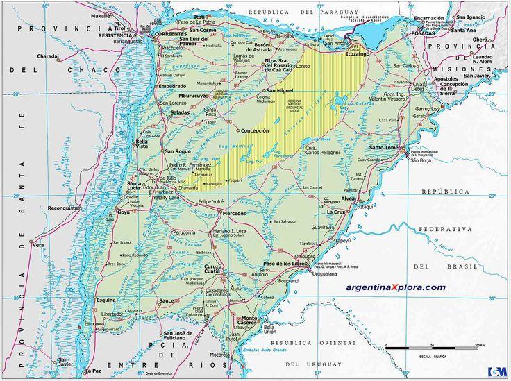 Mapa  de Rutas y localidades de la Provincia de Corrientes - Argentina