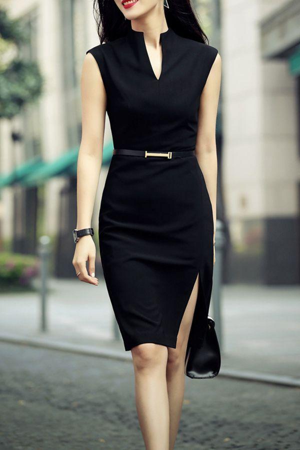 Zenpp Black Slit Sheath Dress Knee Length Dresses At Dezzal
