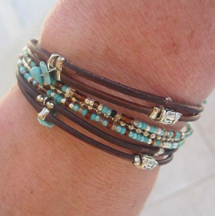 Boho Beaded Dark Brown Distressed Style Leather by DesignsbyNoa, $25.00