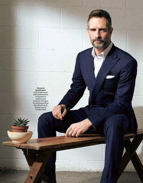 Grey hair, blue pinstipe suit. Sexy.
