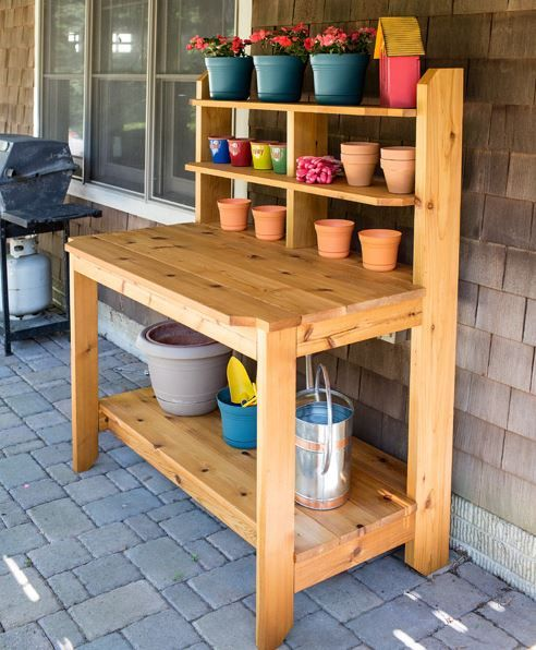 Built-To-Last Potting Bench: Create a great place for potting plants and gardening chores by building this tough, good-looking potting bench. This one is built from cedar to hold up to years of use outdoors. It looks so good that you might decide to use it as a serving station on your deck or patio, too. Find the FREE project plan, along with many others, at buildsomething.com