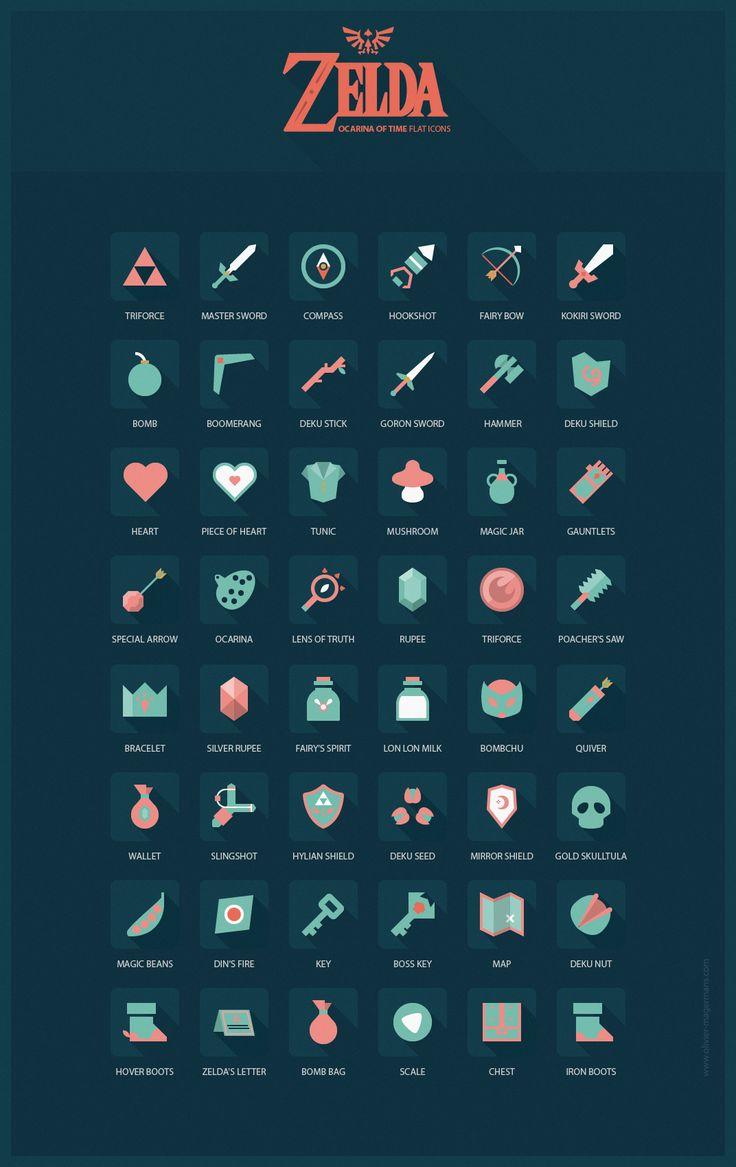 Zelda Ocarina of Time flat icons