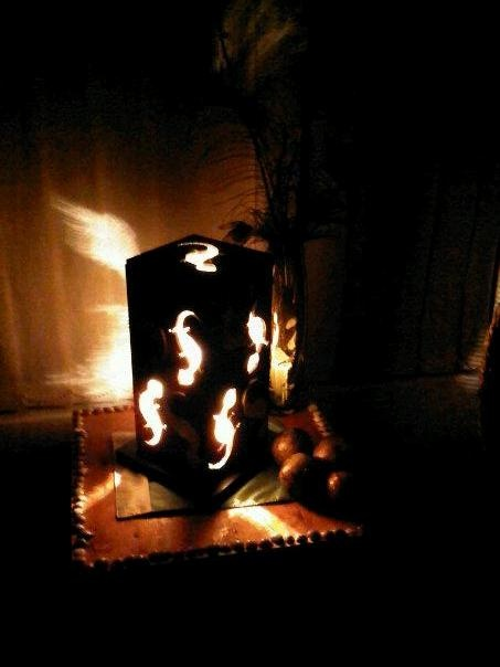 Lamp made out of flooring