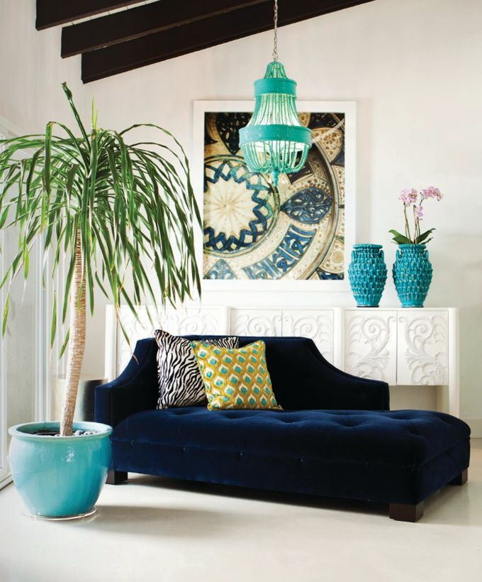 If you love the architecture of a Period home  but prefer a more bohemian decor rather than traditional, fit out in a Moroccan-style using subtle colours. Turquoise and navy blue make great partners against ivory in this living area with ochre and deep chocolate as accents.