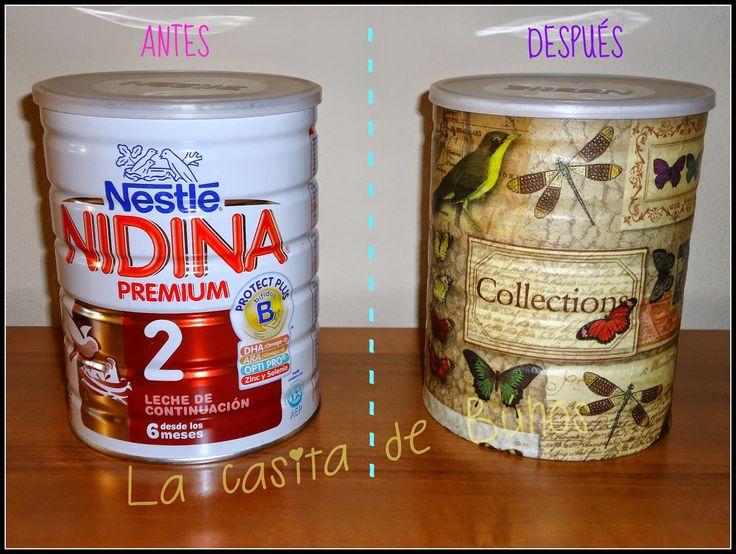 Bote de leche con decoupage - Hucha Babymilk tin with decoupage - Money Save