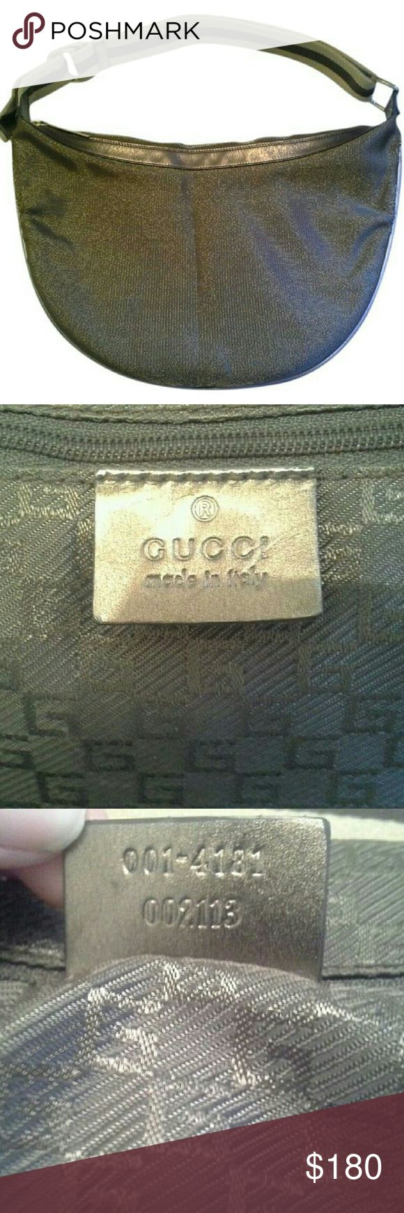 """Gucci Authentic Handbag Metallic Bronze Hobo Rare 100% Authentic Gucci handbag! Beautiful bronze and metallic brown fabric hobo with leather trim. Striped leather trimmed fabric strap has a light shimmer to it to match. Gorgeous gold logo hardware. Signature logo print lining.  H: 10"""" L: 14"""" Made in Italy. Includes Controllato card. Condition notes: Lovely looking bag with some repairable wear. Top layer of fabric along the sides has fraying (no actual holes in bag), could be repaired by a…"""