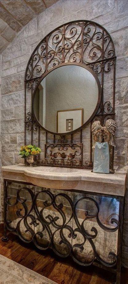 Antique Mirrored Iron Vanity Powder Room Old World