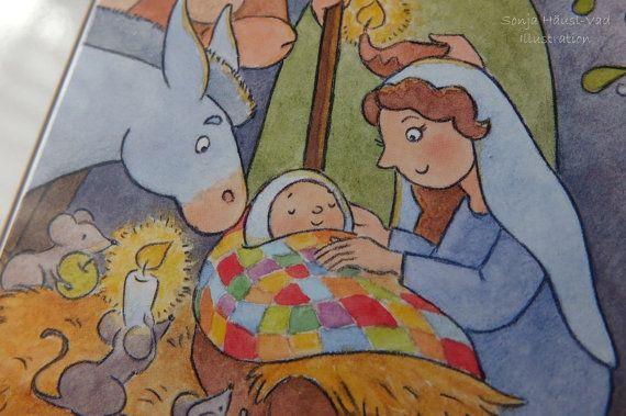 Weihnachtskarte mit drei Mäusen und dem Christkind - Set 5 Stück #christmascard
