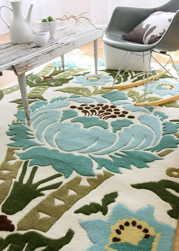 Neat design, neat colors.. neat rug.Dining Rooms, Living Rooms, Floral Rugs, Area Rugs, Family Rooms, Colors Schemes, Wool Rugs, Families Room, Amy Butler