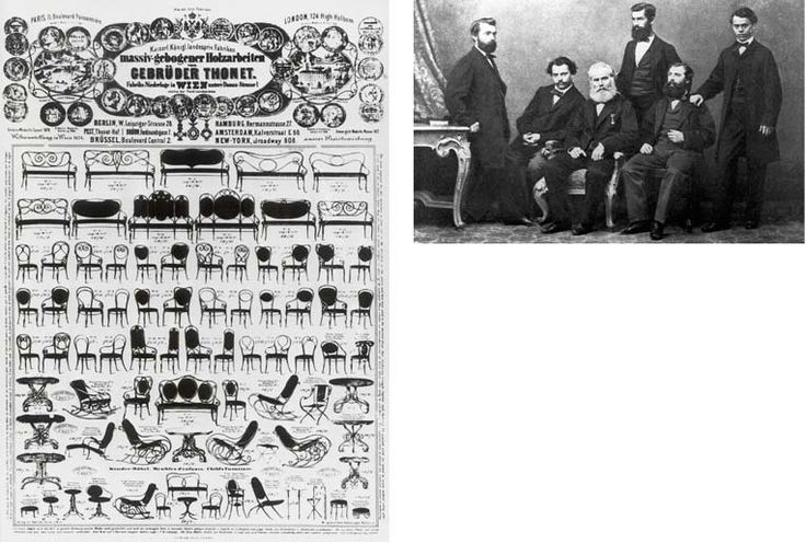 Micheal Thonet, lernt Tischler, 1819 eröffnet er seine Werkstatt in Boppard, experimentiert mit Holzbiegen, 1842 geht er nach Wien, ab 1849 hat er dort eine eigene Werkstatt,  zunächst