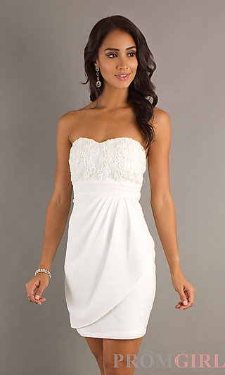 in white for reception.Short Strapless Semi Formal Dress at PromGirl.com
