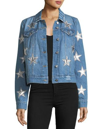 Star-Patched+Denim+Jacket+by+Bagatelle+at+Neiman+Marcus+Last+Call.