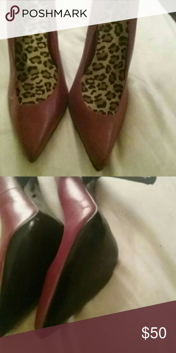 High  hill shoes Red and chetta print Colin Stuart Shoes Heels