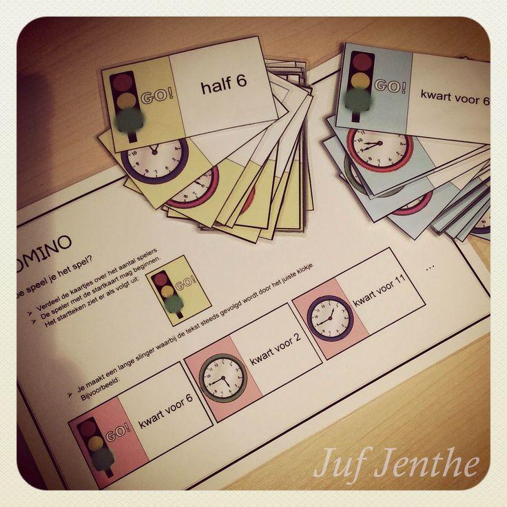 Spelenderwijs het kloklezen inoefenen: domino. Naar een idee van http://www.sparklebox.co.uk/maths/shape-space-measures/time/#.VCLNOxZg_5P (vertaald naar het Nederlands)