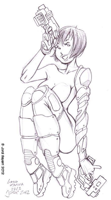 Boceto sci-fi girl.