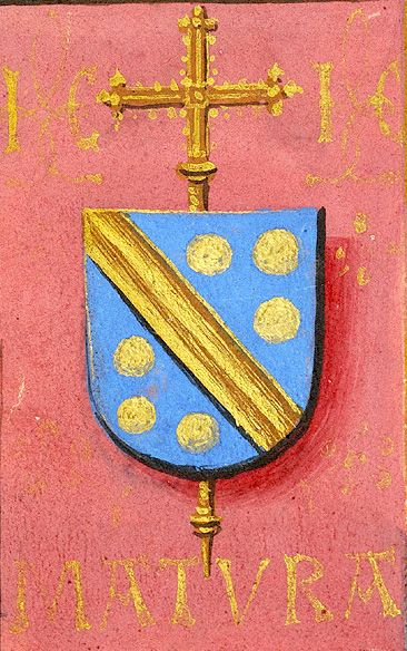 Escutcheon with arms of Jean Carondelet (azure a fasce and six bezants or en orle, an archiepiscopal cross in pale beneath the shield), with the motto MATURA and the initials IC. (f°61v) -- «Book of Hours», Bruges (Belgium), ca. 1500 [Morgan, MS M.390]