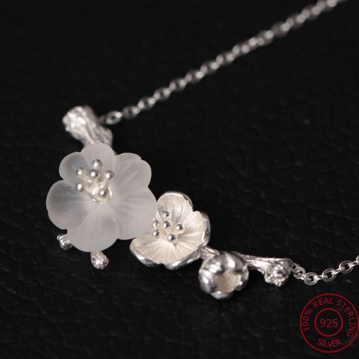 2017 Women Necklace 100% Real 925 Sterling Silver DIY Ethnic Flower Crystal Pendant Chain Necklace Gift Women Bohemia jewelry Y2 //Price: $43.98 & FREE Shipping //     #hashtag2