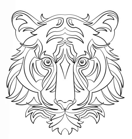 Abstract Tiger coloring page from Abstract animals