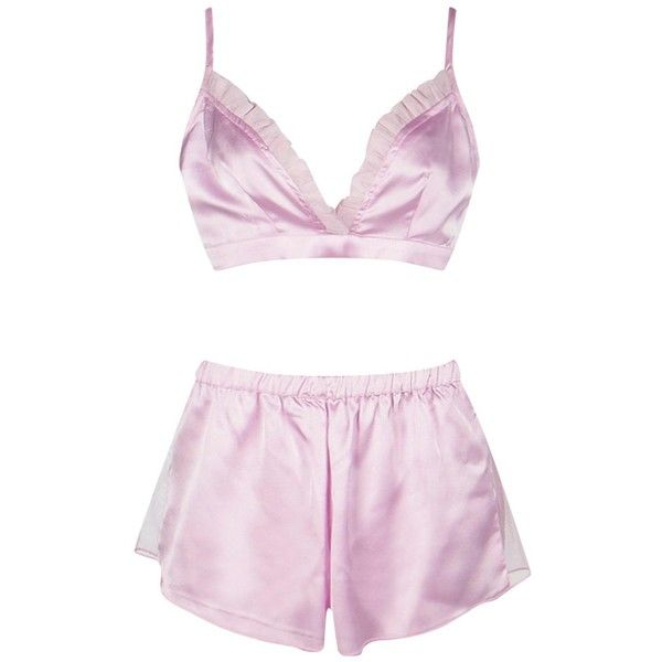 Boohoo Kelly Satin Mesh Bralet And Short PJ Set ($16) ❤ liked on Polyvore featuring intimates, sleepwear, pajamas, satin pajama set, short pyjamas, short pajama set, short sleepwear and satin pajamas