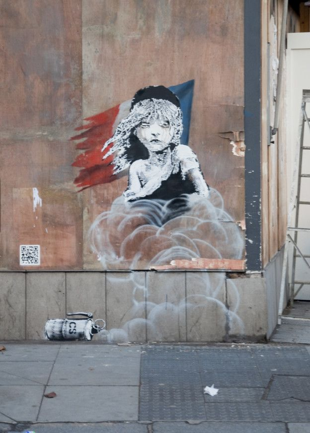 Banksy, street art, stencil, Les Miserables, Knightsbridge, London, French Embassy, Calais, Refugees, Calais Jungle