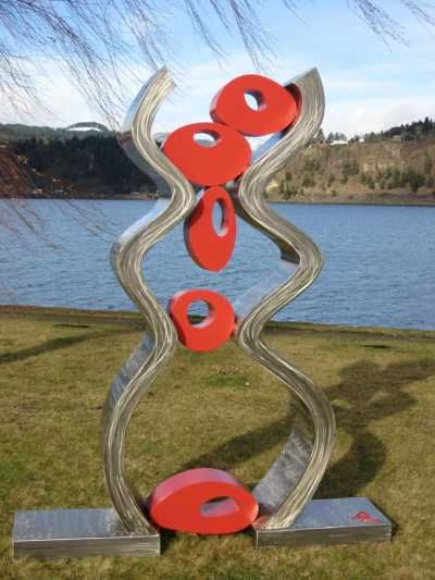 Stainless steel / mild steel Public Art #sculpture by #sculptor Chris Rench titled: 'Caught Up' £34819 #art