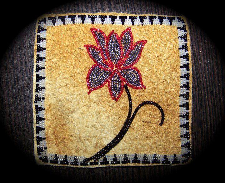 Beaded patch on moose hide, Alaska native beadwork by Liisia Carlo Edwardsen