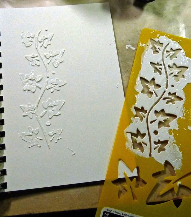 I am very excited because I have been playing around with homemade modeling paste.  It is quite fun to use stencils and slather on some whit...