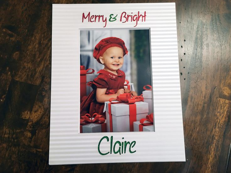 8x10 Custom Christmas Photo Mat - Merry & Bright with the first name by NewtonHandiworks on Etsy