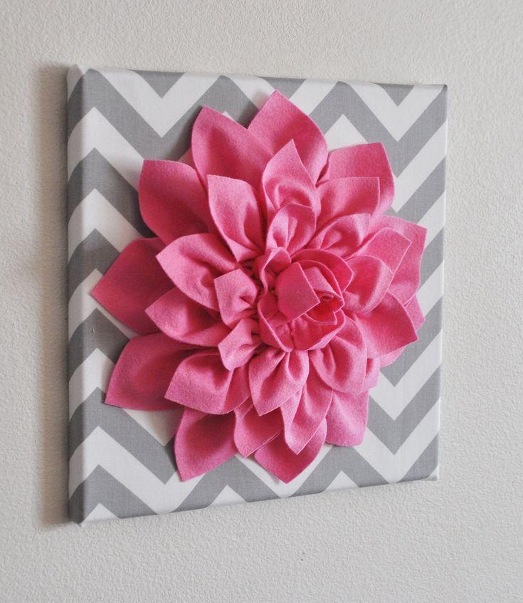 "Pink Wall Flower -Bright Pink Dahlia on Gray and White Chevron 12 x12"" Canvas Wall Art- Baby Nursery Wall Decor-. $34.00, via Etsy."