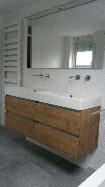 Wastafel onderkast hout